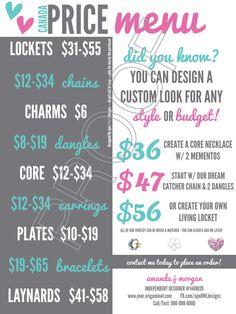 CANADA Price Menu w/ 50 & Under Designs – w/ Designer Info - JB Graphic – Origami Owl Inspired by ajmOWLdesigns on Etsy