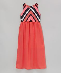 This Coral & Black Chevron Maxi Dress - Girls is perfect! #zulilyfinds