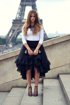 Zara Heels, Christian Louboutin Spikey Clutch, Claes Iversen Big Skirt