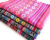 Tribal Fabric, Peruvian Fabric, Woven Aztec Fabric Bundle, 4 Large Pieces