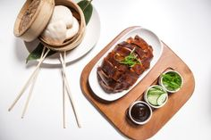 whole peking duck for two: cucumber, scallion, hoisin, steamed buns