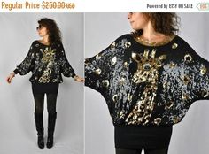 SALE 40% WILD Giraffe Sequined Top  Spotted Black and Gold