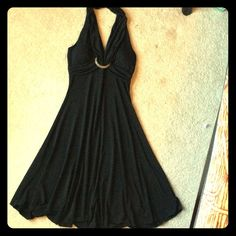 Little black dress Halter style little black dress with wooden ring at mid bust for detail My Michelle Dresses Midi