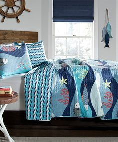 Nick's Room - Loving this Blue Atlantis Quilt Set on #zulily! #zulilyfinds