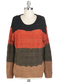 Strata Great Time Sweater - Mid-length, Multi, Orange, Green, Brown, Black, Casual, Long Sleeve, Fall