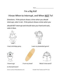 """K-1 lesson on Interrupting - This FREE school counseling product by Lisbeth Fillard (lovetocounsel) includes a worksheet and scenarios for use with the book """"My Mouth is a Volcano"""" by Julia Cook or any lesson on Interrupting/Waiting Your Turn! The worksheet and scenarios are appropriate for PreK, K and 1st grade students."""