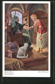 Alte Ansichtskarte: Künstler-AK Otto Kubel: Dornröschen, Prinzessin sticht sich an einer Spindel