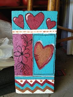 Bring out your creative side--and show your love--with painted concrete pavers. Painted Bricks Crafts, Brick Crafts, Painted Pavers, Painted Rocks, Hand Painted, Brick And Stone, Stone Art, Paver Stones, Stepping Stones