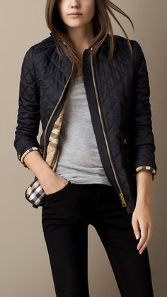 Corduroy Collar Quilted Jacket from Burberry. Shop more products from Burberry on Wanelo. Style Work, Mode Style, Style Me, Casual Outfits, Cute Outfits, Casual Wear, Casual Clothes, Hipster Outfits, Casual Skirts