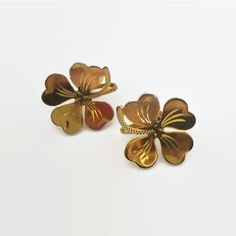 Clover Earrings, Vintage, Sterling Vermeil Four Leaf Clovers, Etched,... ($18) ❤ liked on Polyvore featuring jewelry, earrings, gold vermeil earrings, vermeil jewelry, clover jewelry, etched jewelry and earring jewelry