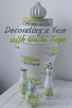 Add washi tape to your old vases and you have instant new decorations. I choose fresh colors for a bit of Spring decorating. www.songbirdblog.com