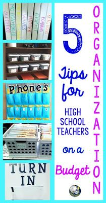 As teachers, we are always looking for tips for organizing our classrooms. For high school teachers, we can rarely find organization ideas specifically for us that we can afford. Here are 5 cheap ideas for secondary teachers to organize their classrooms High School Organization, Teacher Organization, Organization Ideas, Organized Teacher, High School History, High School Science, High School Crafts, High School Reading, High School Chemistry