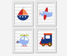Transportation Baby Boy Nursery Wall Art Train Plane Boat Helicopter Little Boys Room Decor Baby Nursery Prints Toddler Boy Boy Bedroom Art