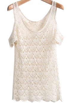 Apricot Off the Shoulder Hollow Net Lace Top 13.33