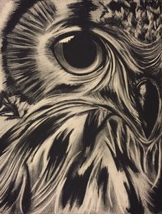 Close-Up Owl Print Charcoal Drawing Original by daisyrootsdesigns Elizabeth Douglas