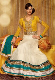 Yellow and Off White Art Silk Abaya Style Churidar Kameez: KCR6701