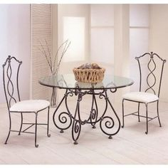 Iron Furniture, Art Deco Furniture, Steel Furniture, Furniture Design, Wrought Iron Beds, Wrought Iron Decor, Muebles Art Deco, Glass Dining Table, Metal Chairs