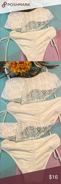 NWT White Lace Flowy Cheeky Bikini Brand new with tags never worn! Women's swim wear is 4 individual pieces for $25 or 2 individual pieces for $15. You can mix and match styles and sizes just let me know and I will help you as soon as I can. If you need help shopping I am here also :) the top and bottoms come together if you purchase this listing, both the same size. Fast shipping, top rated seller. I have the top in a medium also if still available. Xhilaration Swim Bikinis