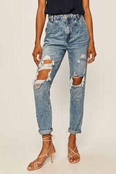 Tally Weijl - Jeansi dama moderni albastri cu rupturi in fata Tally Weijl, Mom Jeans, Pants, Products, Fashion, Beaded Crafts, Sheep, Trouser Pants, Moda