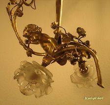 ADORABLE FRENCH ART NOUVEAU CHANDELIER 1900 - CHERUB/PUTTO - HEAVY BRONZE -
