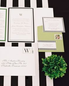 Classic black-and-white stationery with stripes and accents of green by Amber Housley.
