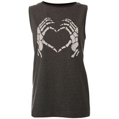 Charcoal Skeleton Hand Print Tank Top ($5.03) ❤ liked on Polyvore featuring tops, shirts, tank tops, tanks, t-shirts, heart print top, heart print shirt, skeleton tops, charcoal grey shirt and print shirts