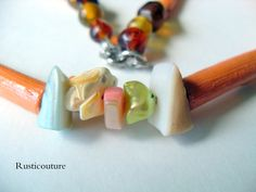 HandCrafted Natural Wood Orange Tube Bead by rusticouture on Etsy