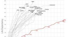 gráfico por Max Roser en Our World in Data-se comparan en dos ejes tanto el gasto por cápita en salud como la esperanza de vida. Mientras en el resto de países el aumento en gasto sanitario se ha traducido durante el siglo XX en una mayor esperanza de vida, en Estados Unidos la correlación es mucho más tenue, y la esperanza de vida ha aumentado de forma muy lenta.