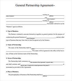 business partnership agreement template check more at httpsnationalgriefawarenessdaycom17693