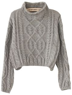 Shop Grey High Neck Crop Cable Knit Sweater online. Sheinside offers Grey High Neck Crop Cable Knit Sweater & more to fit your fashionable needs. Free Shipping Worldwide!