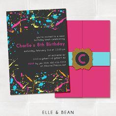 Neon Graffiti Birthday Party Invitation.