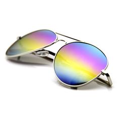 Retro Party Festival Rainbow Revo Lens Metal Aviator Sunglasses 9472 | zeroUV