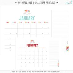 Colorful Calendars  Free Printables  Free Printables