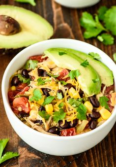 Slow Cooker Chicken Enchilada Soup — An easy, healthy recipe that only needs 10 minutes to prep! (gluten free)