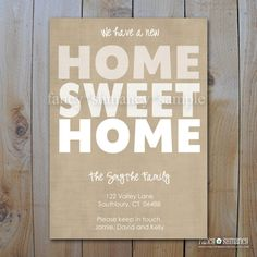 Moving Announcement / Modern Home Sweet Home / Editable .doc file / Printable item# 1118