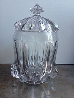 """EAPG Flint Glass """"Hercules"""" pattern Cracker Biscuit Jar made by McKee Glass Company, circa 1880's, 9.5""""H"""