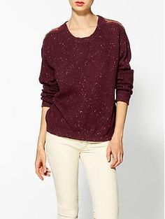 $160 Maison Scotch Sweater With Beaded Epaulettes | Piperlime