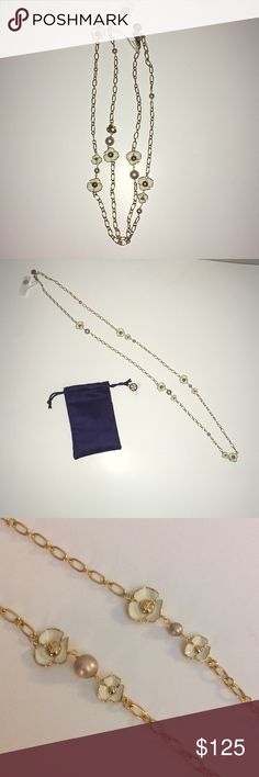 """Tory Burch Fleur Rosary necklace Tory Burch Fleur Rosary necklace approximate measurement total length 41"""" and half length 20.5 Tory Burch Jewelry Necklaces"""