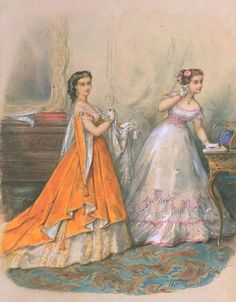fripperiesandfobs:    La Mode Illustrée, 1866    I'm getting to really love Russian sleeves.