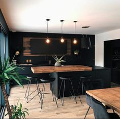 Loft is All You Need - Modern Kitchen designed by Lilynelle Industrial Kitchen Design, Kitchen Room Design, Home Room Design, Modern Kitchen Design, Home Decor Kitchen, Interior Design Kitchen, House Design, Black Kitchens, Home Kitchens
