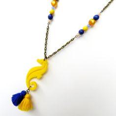 collana cavallo di mare blu fiocchetto giallo di Chiara B. su DaWanda.com