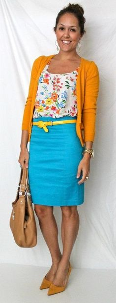 goldenrod cardigan, flower print top, azure skirt