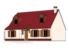 Modèle PC-04  Pavillon comprenant cuisine, séjour, hall, salle de bains, WC et 1 chambre au rez-de-chaussée. 2 chambres, 1 bureau, salle de bains à l'étage.  Surface Habitable : 112,98m²