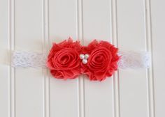 Shabby Rosette Headband with Pearl Center - Available in multiple colors