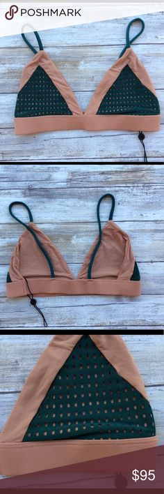Acacia Swimwear Seaweed Topless Tetiaroa Mesh Top Find me on Instagram @ perfectkini  Genuine Authentic Brand New without Tags (partial tag) No marks on label   🚨NOT INTERESTED IN TRADING🚨  **Acacia Runs Small; Please Know Your Size**  Bralette style Thick band around rib cage for support Two-toned color ways acacia swimwear Swim Bikinis