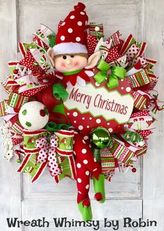 Christmas Deco Mesh Elf Wreath in Red & Green, Whimsical Elf, Holiday Wreath, Door Wreath, Christmas Merry Christmas, Christmas Door Wreaths, Holiday Wreaths, Christmas Time, Christmas Crafts, Christmas Ornaments, Elf Christmas Tree, Christmas Vacation, Christmas Videos