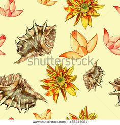 Vintage flowers and seashells. Shabby chic wallpaper. Hand drawn sketch…