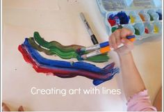 Creating line art with textured paint and reusing egg cartons for paint.
