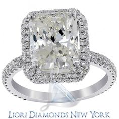 3.41 Carat H-SI2 Radiant Cut Diamond Engagement Ring In Platinum Vintage Style - Pave Halo Engagement Rings - Engagement - Lioridiamonds.com