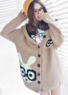 Cute Hooded Collar Long Sleeve Rabbit Print Knitting Wool Long Coat Light tan